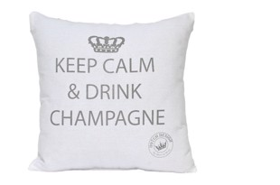 Keep calm pude hvid med tryk 45x45 cm
