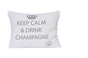 Keep calm stor pude hvid med tryk 60x40 cm